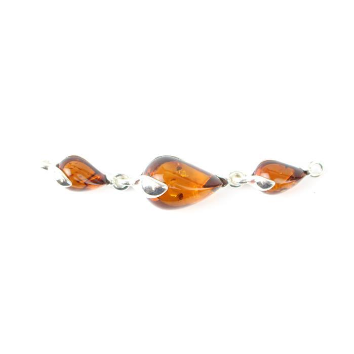 Baltic Cognac Amber Triple Drop Connector with 925 Sterling Silver Element Approx 48x9mm