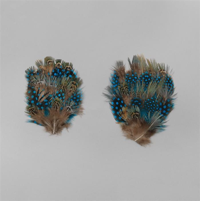 Blue and Brown Feathers Flower Base Approx 8x10cm 2pcs/set
