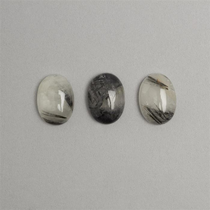 Black Rutilaited Quartz Oval Cabochon 16x22mm 3pcs/set