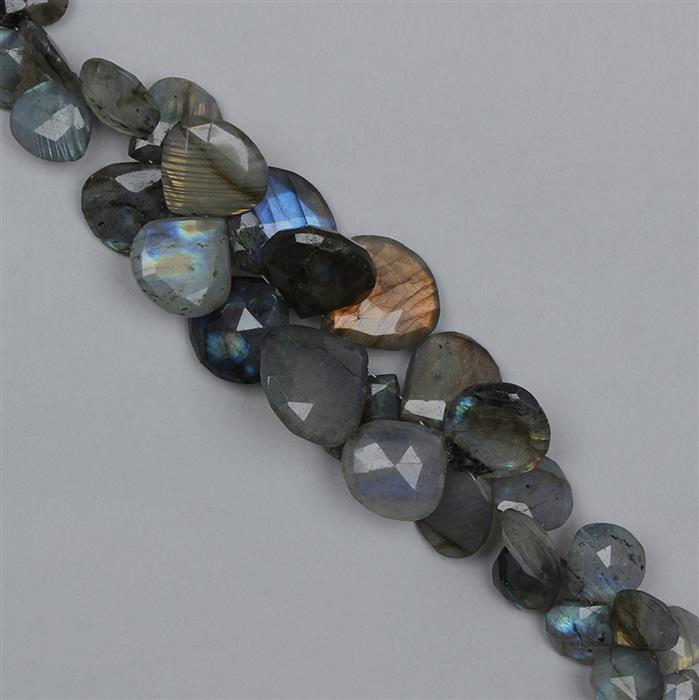 240cts Labradorite Graduated Faceted Elongated Drops Approx 9 to 20mm, 14cm Strand.