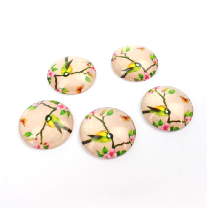 Vintage Blush Bird Glass Cabochons, Approx 25mm (5pcs/pack)