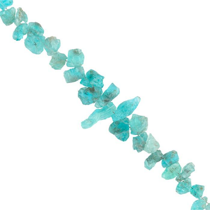 85cts Sky Blue Apatite Graduated Rough Slices Approx 6x3 to 13x8mm, 16cm Strand.