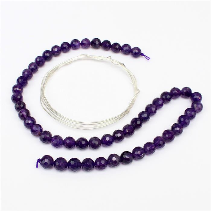 Underneath the Purple Rain INC Amethyst Faceted Rounds 8mm & 0.8mm Sterling Silver Wire