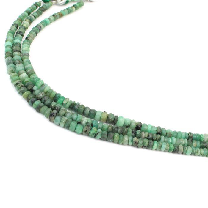 3 For 2! 3x 20cts Emerald Graduated Faceted Rondelles Approx 2x1 to 5x2mm, 18cm Strand.