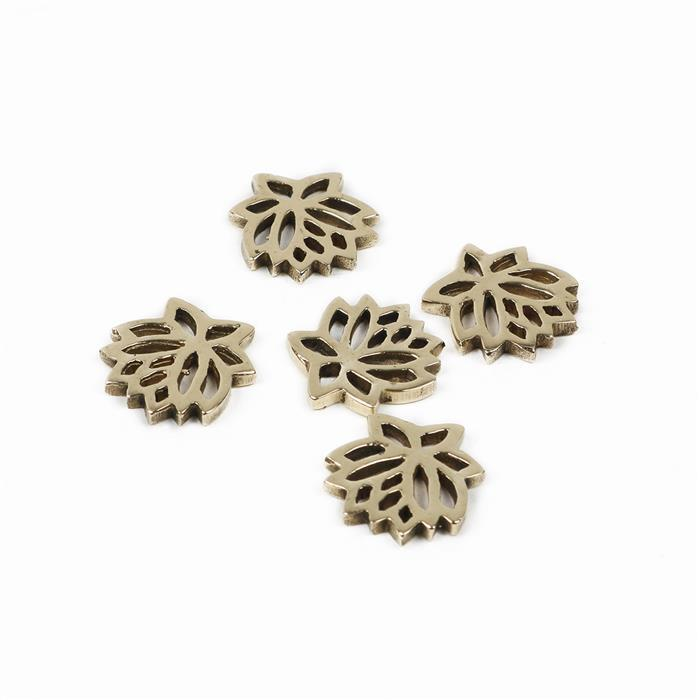 Polished Brass Flower Connector - 14mm (5pcs)