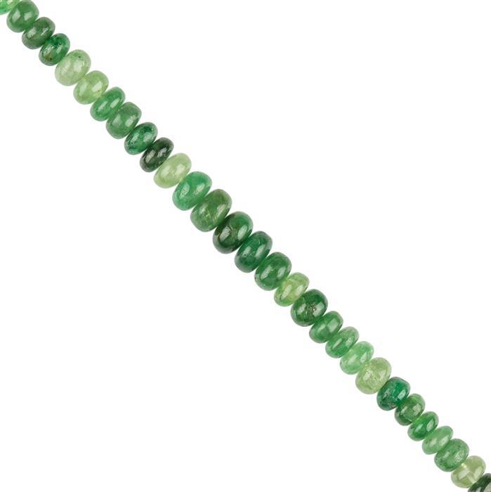 55cts Ombre Tsavorite Garnet Graduated Plain Rondelles Approx 5x3 to 7x4mm, 14cm Strand.