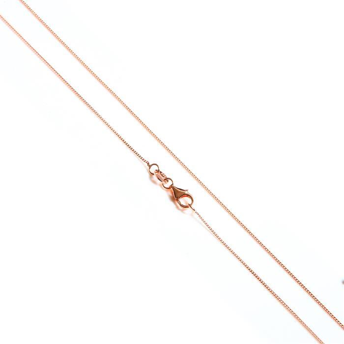 Rose Gold Plated 925 Sterling Silver Curb Chain 45cm/18""