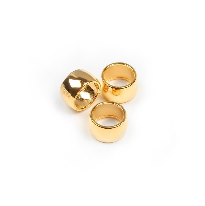 Gold Plated 925 Sterling Silver Ring Spacer - 10mm (3pcs/pk)