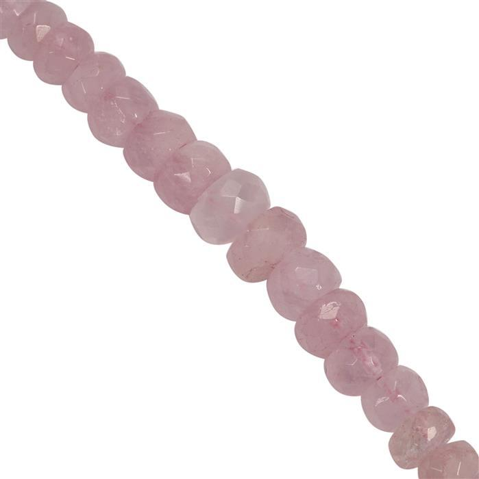 55cts Morganite Graduated Faceted Rondelles Approx 5x2.5 to 7.5x4.75mm, 18cm Strand