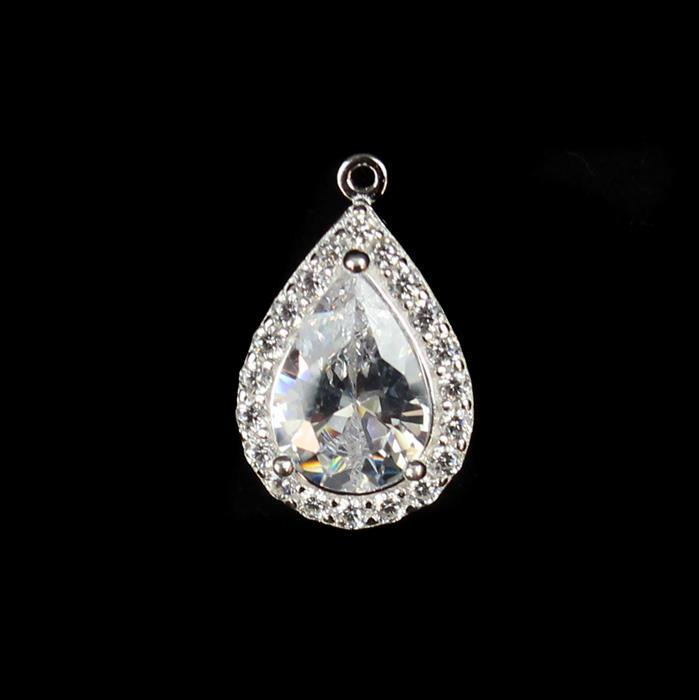 925 Sterling Silver Cubic Zirconia Large Drop Pendant approx 15mm,1pcs
