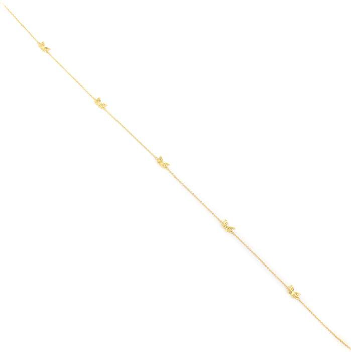 Gold Plated 925 Sterling Silver Necklace Connector with Butterfly Charms 40cm 1 pc