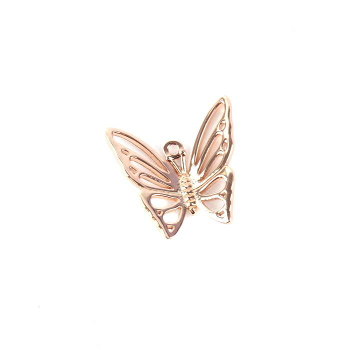 Rose Gold Plated 925 Sterling Silver Filigree Butterfly Pendant approx 20mm 1pc
