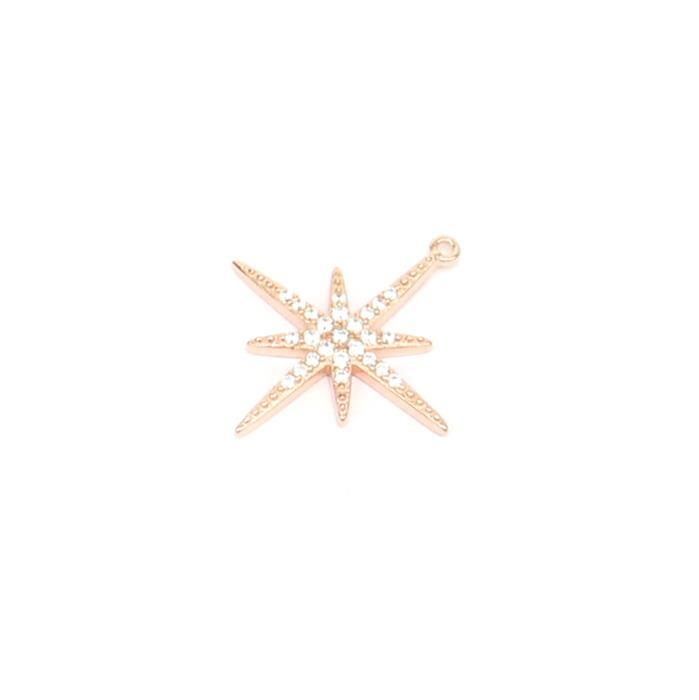 Rose Gold Plated Sterling Silver Cubic Zirconia Northern Star Pendant Approx 20mm