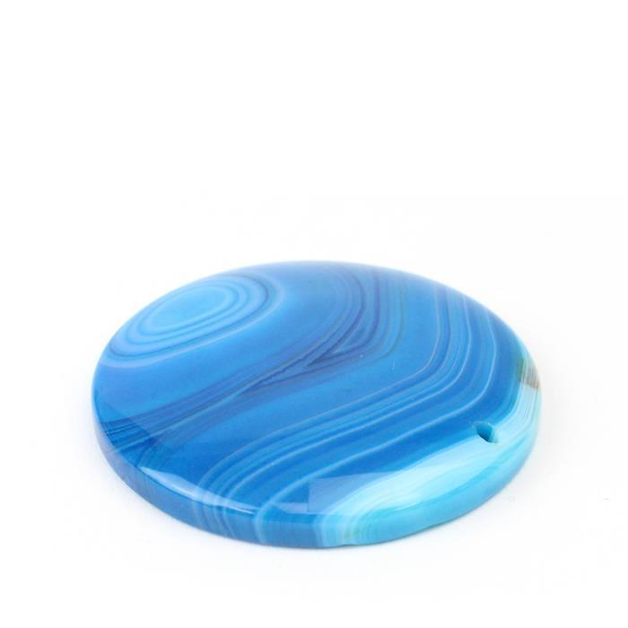 70cts Blue Stripe Agate Coin Pendant  Approx 40mm,1pk