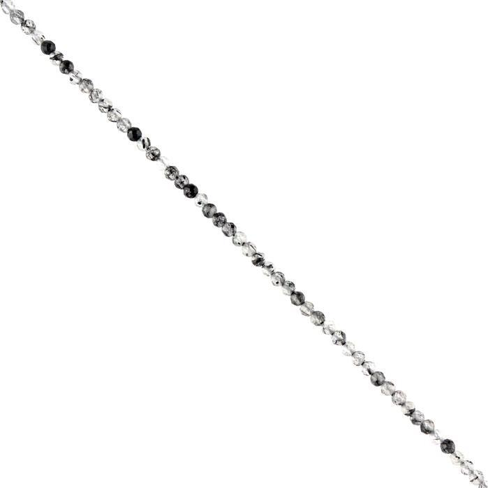 5cts Black Rutile Micro Faceted Rounds Approx 2mm, 38cm Strand.