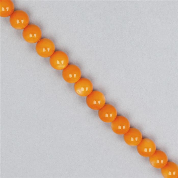 Orange Dyed Shell Rounds Approx  8mm