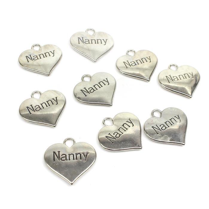 Steve Super Saver! 3x Silver Colour Heart Charms Engraved With Nanny Approx 3cm 3pk