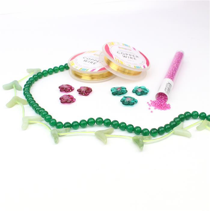 Blush Bloom INC Preciosa Flower Lamp Beads, V-Shape Flowers, 11/0's, Green Agate & Wire