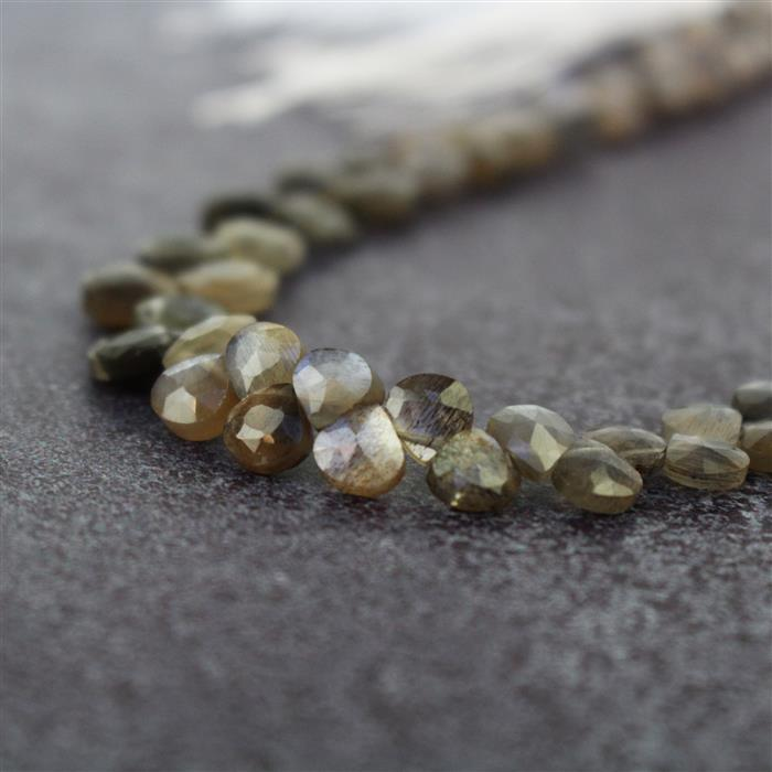 38cts Silver Moonstone Graduated Faceted Flat Drops Approx 3 to 7mm, 16cm Strand.
