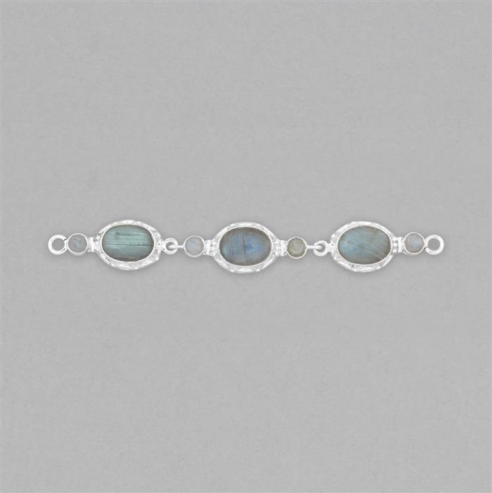 925 Sterling Silver Gemset Triple Linked Connector Approx 106x13mm Inc. 18cts Labradorite Cabochons
