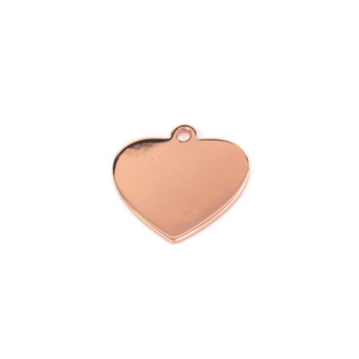 Rose Gold Plated 925 Sterling Silver Blank Heart Charm Approx 20mm