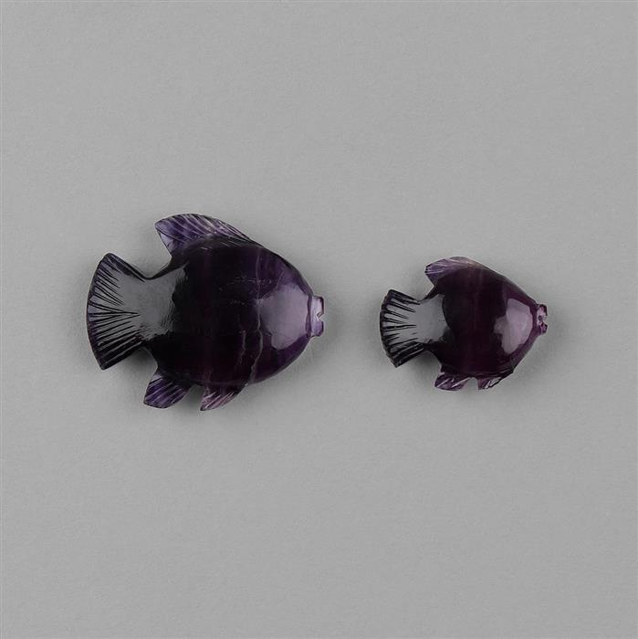 46cts Multi Colour Fluorite Carved Small Fish 18x16mm (1pc) and Large Fish 27x22mm (1pc).