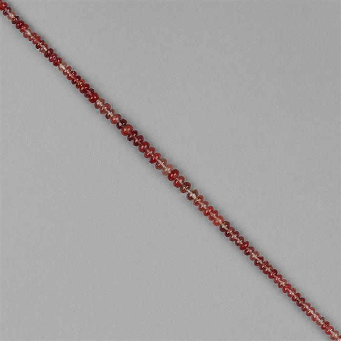 26cts Andesine Graduated Plain Rondelles Approx 2x1 to 5x2mm, 18cm Strand.