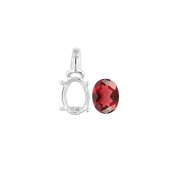 925 Sterling Silver Pendant Mount Fits 8x6mm Inc. 1.20cts Garnet Brilliant Oval 8x6mm.