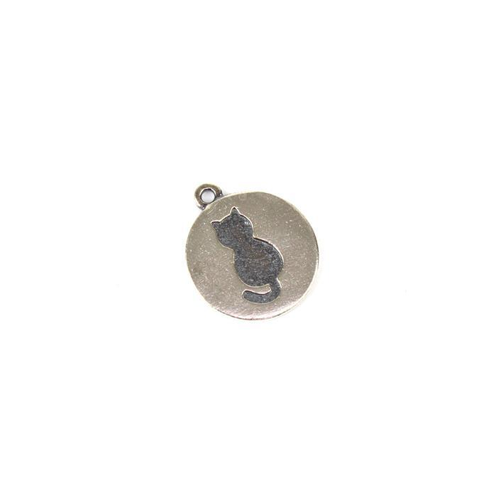 925 Sterling Silver Debossed Cat Round Pendant Approx 15mm