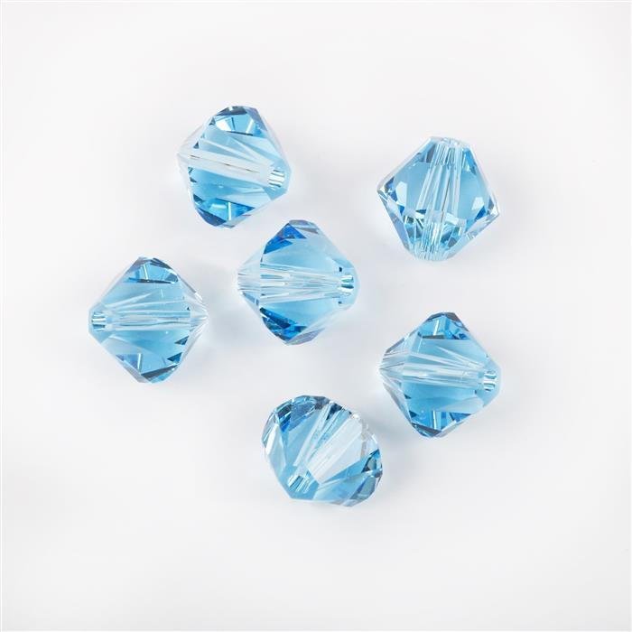 Swarovski Crystal Beads - Pack of 6 Bicones 5328 - 8mm Aquamarine
