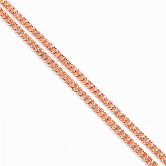1m Rose Gold Plated Brass Curb Chain - 3.6x4.5mm (1m)