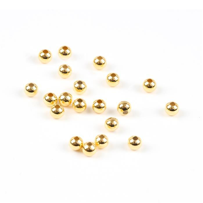 Gold Plated Sterling Silver Spacer Beads - 3mm (20pcs/pk)