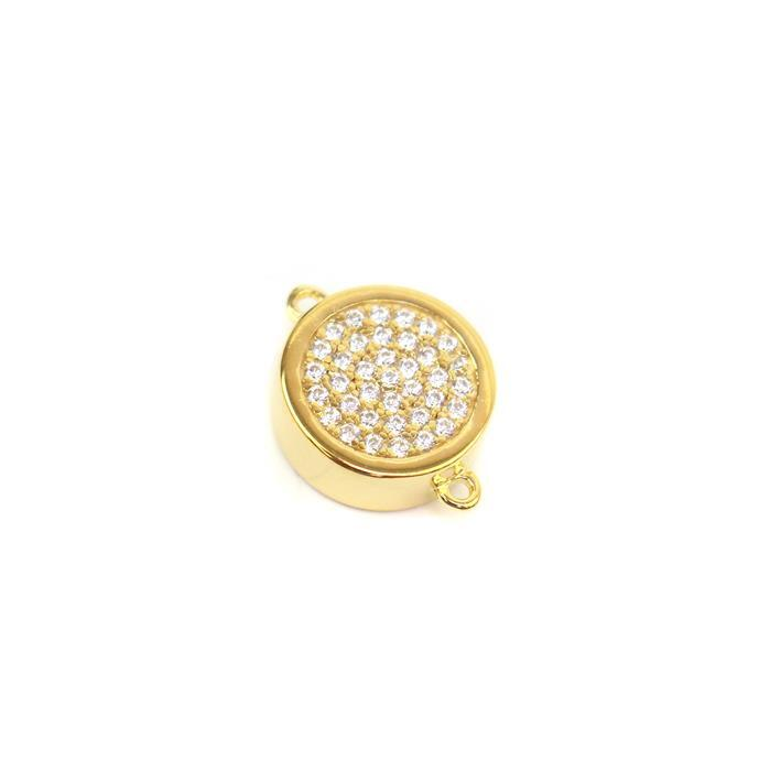 Gold Plated 925 Sterling Silver Cubic Zirconia Connector Approx 10x13mm, 1pc