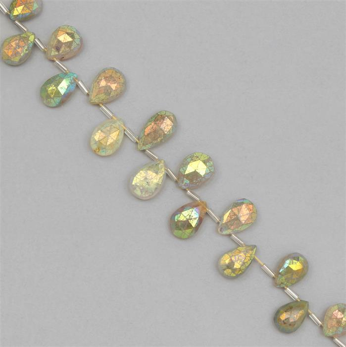 118cts Coated Golden Rutile Graduated Faceted Pear Approx 11x8 to 18x11mm, 18cm Strand.
