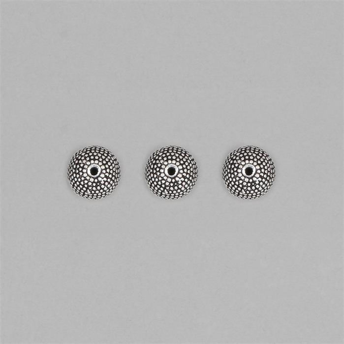 925 Sterling Silver Oxidised Beads Approx 10x9mm (3pcs)