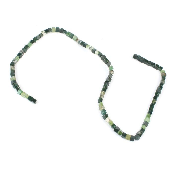 60cts Moss Agate Cube Approx 4mm, 38cm strand