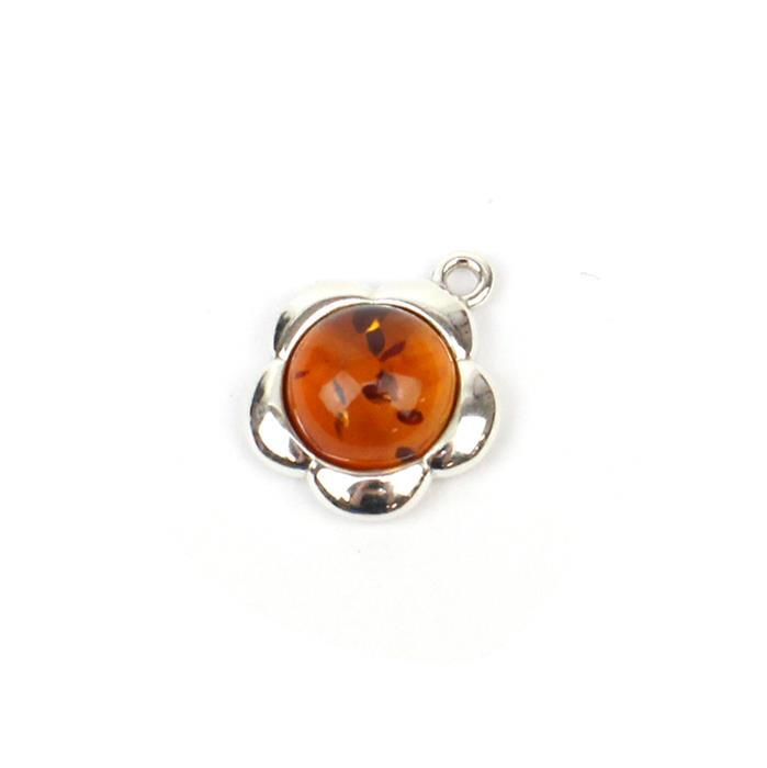 Baltic Cognac Amber Round Cabochon Flower Charm Approx 15mm Sterling Silver