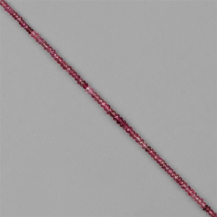 24cts Pink Tourmaline Graduated Faceted Rondelles Approx 2x1 to 4x2mm, 20cm Strand.