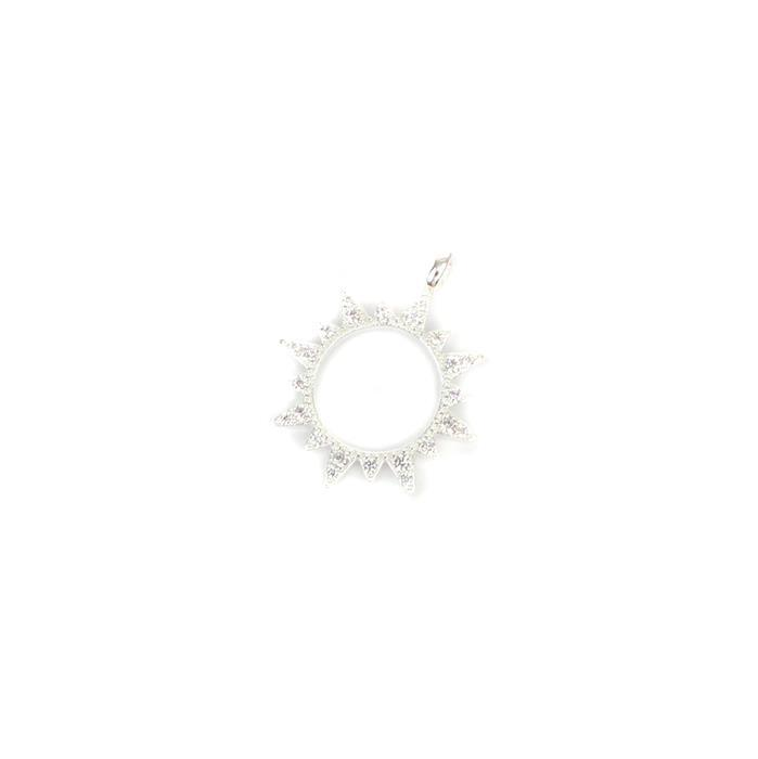 Sterling Silver Cubic Zirconia Star Sun Pendant Approx 20mm, 1pcs