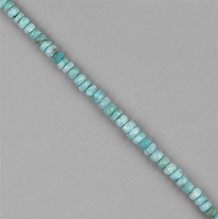 92cts Larimar Graduated Faceted Rondelles Approx 4x2 to 7x4mm, 20cm Strand.