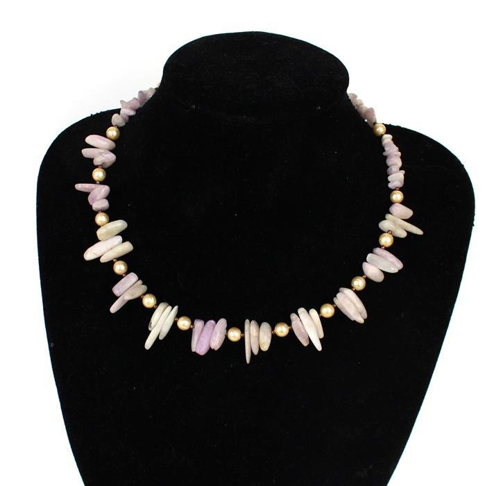 Flamingo Pink inc Kunzite nuggets & chips, textured shell rounds, antique bronze beads