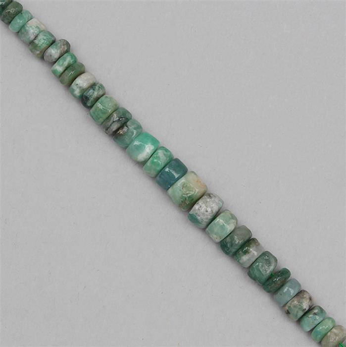 55cts Emerald Graduated Plain Wheels Approx 3x2 to 7x4mm, 19cm Strand.