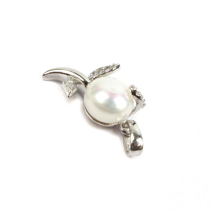 925 Sterling Silver Flower Pendant With White Freshwater Pearl & Cubic Zirconia Approx 23x11mm (Pearl Approx 9mm)