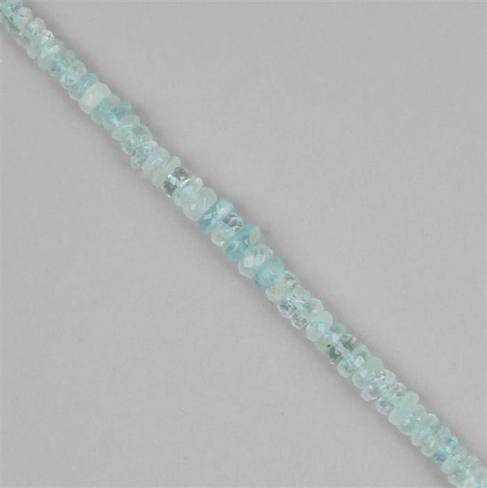 40cts Aquamarine Graduated Faceted Rondelles Approx 2x1 to 5x2mm, 29cm Strand.