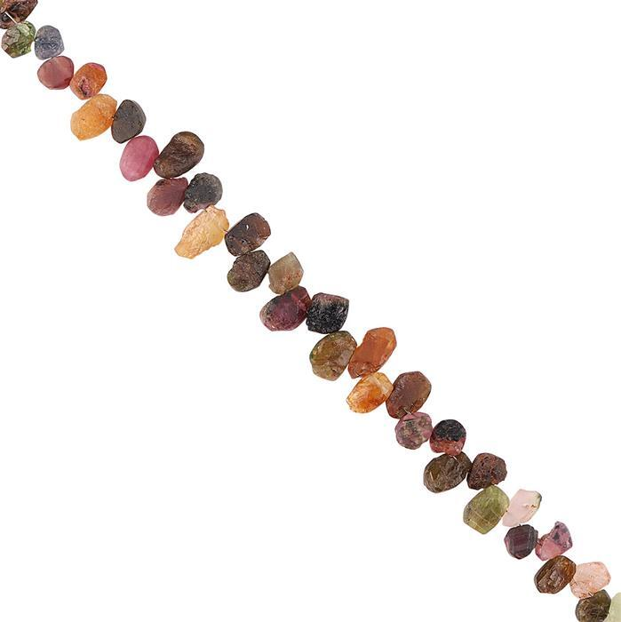 50cts Multi-Colour Tourmaline Graduated Rough Slices Approx 6x4 to 10x6mm, 14cm Strand.