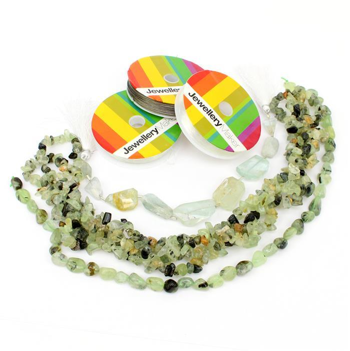 Willow Mist INC 2m Prehnite Nuggets, Large Multi Beryl Faceted Nuggets & Threading Pack