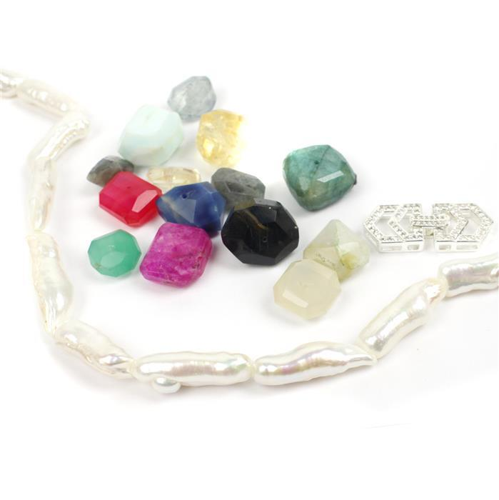 Rainbow in the Clouds: White Freshwater Biwa Pearl Strand, Gemstone Scoop & CZ Clasp