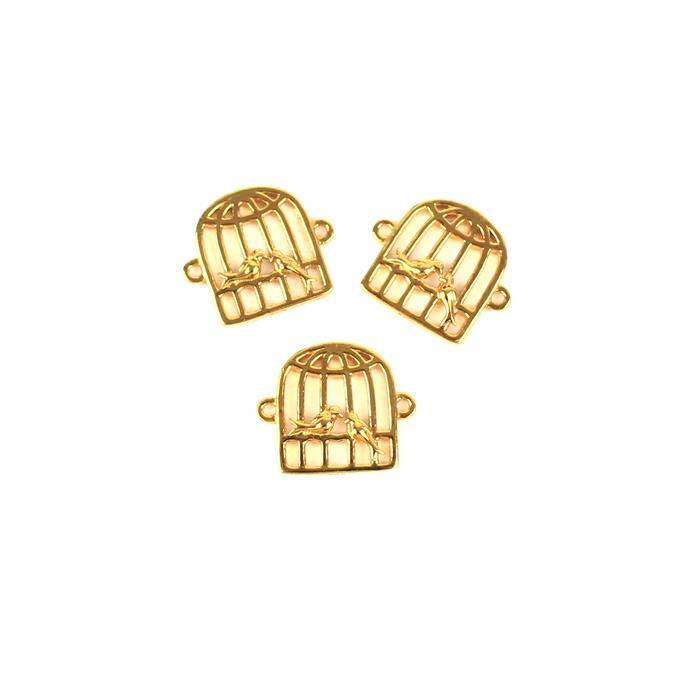 Gold Plated 925 Sterling Silver Love Bird Cage Connectors Approx 12x14mm 3pcs