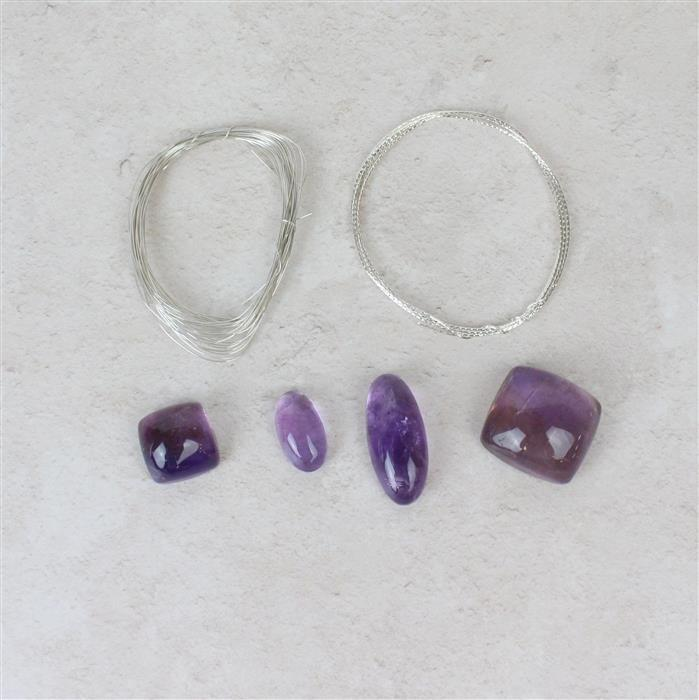 Cocktail Ring; 190cts Amethyst Multi Shape Cabochons, 1m 925 SS Diamond Cut Wire & more