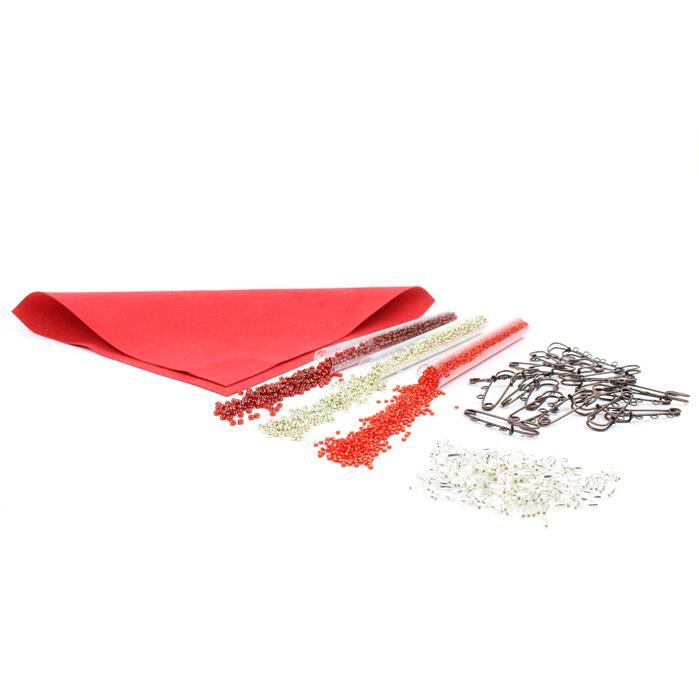 Silver Heart: Silver Bugles, Garnet & Silver 8/0s & S/L Red 11/0s, Foundation & Brooches